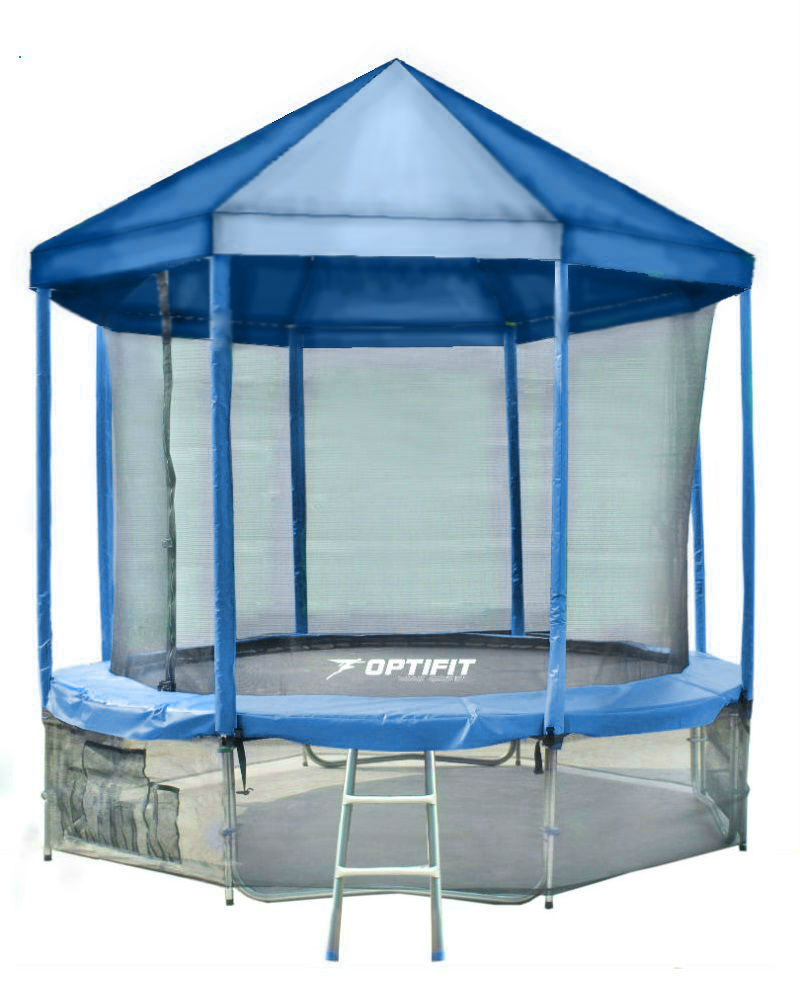 Батут OPTIFIT Like Blue, Green 14ft 4,27 м с крышей